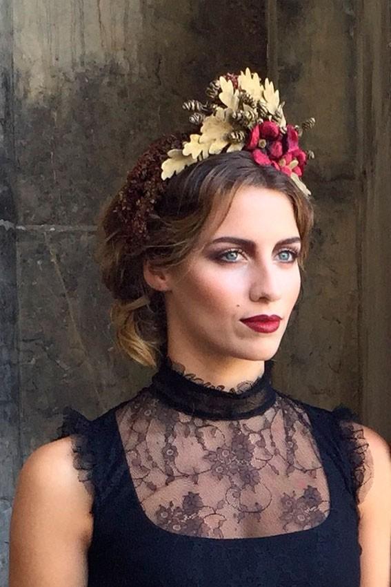 Tiara novia hojas de roble en oro