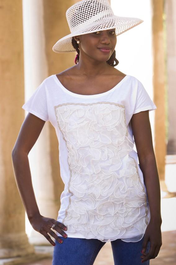 Top algodón blanco con tejido de organza en crudo – pieza única