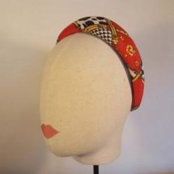 ROCKY Diadema acolchada en estampado de pata de gallo y animal print, rojo, oro blanco y negro