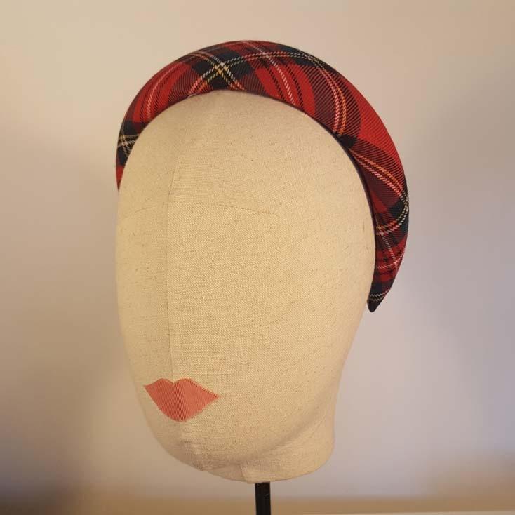 ESCOCIA Diadema acolchada en estampado Escocés