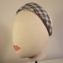 TRINITY Diadema plana forrada en espiga de lana blanco, gris y negro