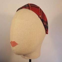 ROD Diadema plana forrada en clasic Escocés rojo, gris y negro con decoración lateral rojo y oro
